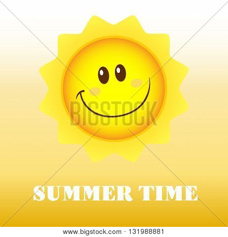 Happy Sun Cartoon Mascot Character. Illustration With Background And Text Summer Time