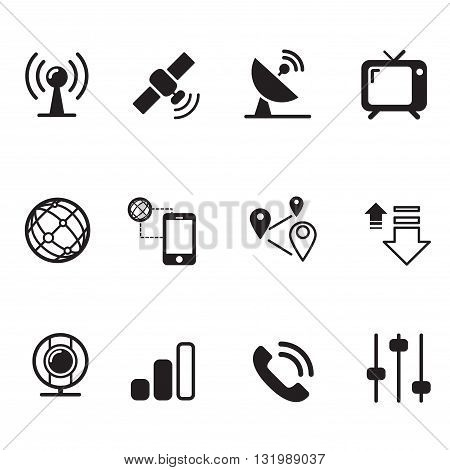Satellite communication technology silhouette icons set graphic design collection