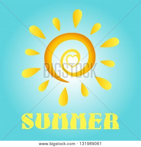 Abstract Sun In Gradient With Heart And Text Summer. Illustration With Blue Background