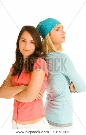 Two teenage girl in odds with each other