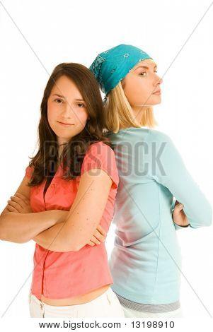 Zwei Teenager-Mädchen in Quoten miteinander