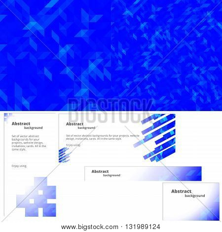 Abstract background for the design of the site a banner and leaflets. Blue background. Abstract wallpaper. Plus three blanks for the banner in the same style.