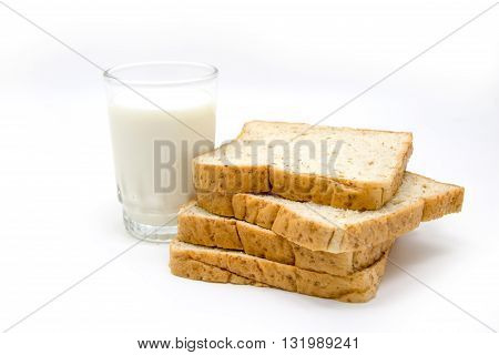 Bread And Milk On White