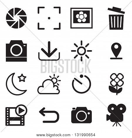 Camera and menu Icons with White Background