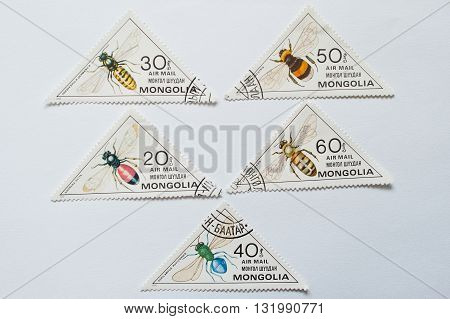 Uzhgorod, Ukraine - Circa May, 2016: Collection Of Triangular Stamps Printed In Mongolia Shows The S