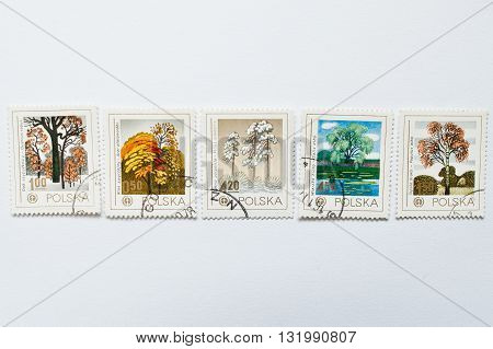 Uzhgorod, Ukraine - Circa May, 2016: Collection Of Post Stamps Printed In Poland, Shows Different Ty