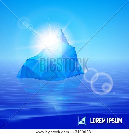 big blue iceberg drifting in the sea