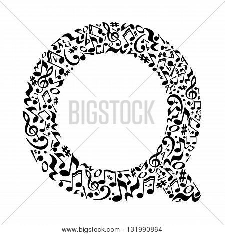 Q letter made of musical notes on white background. Alphabet for art school. Trendy font. Graphic decoration.