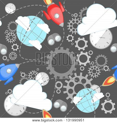 Industrial pattern on grey background. Wrench, clock, cog, gear, clouds, planet and rocket. Abstract concept of teamwork, successful business and communication.
