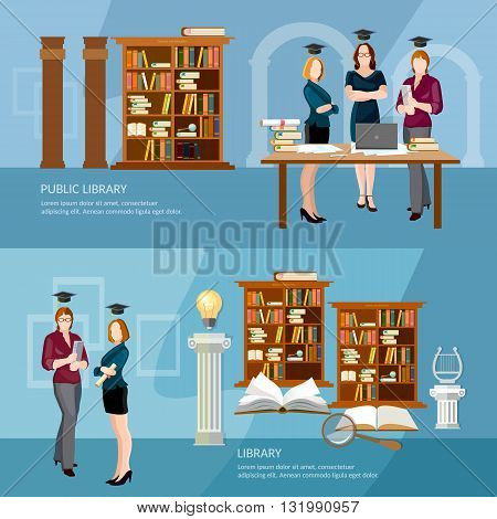 Library banners students read book professional education vector illustration