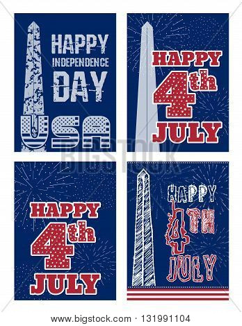 Set of vintage card design for fourth of July Independence Day USA. Designed in traditional American flag colors, with Washington Monument and typical American type. Patriotic series, main celebration