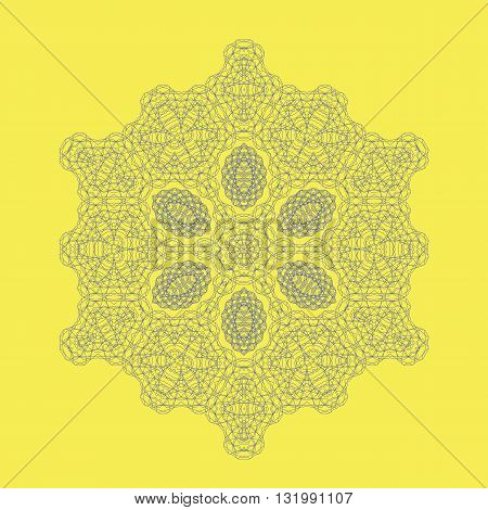 Round Geometric Mandala Ornament Isolated on Yellow Background