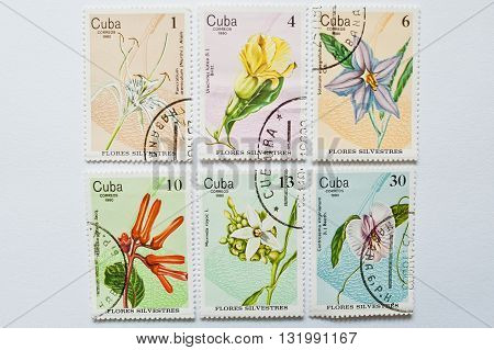 Uzhgorod, Ukraine - Circa May, 2016: Collection Of Postage Stamps Printed In Cuba, Shows Different F