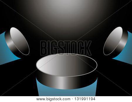 three hockey puck flying into the light in the center