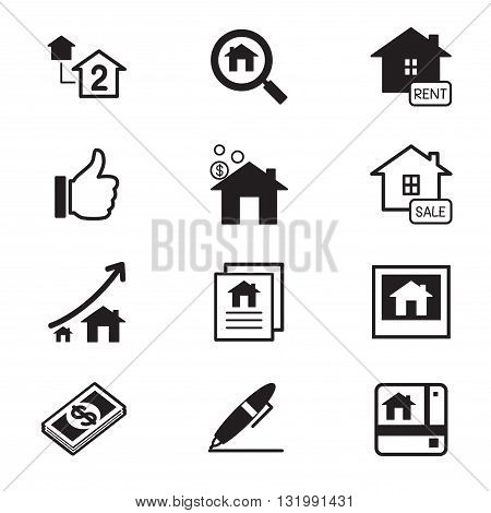 Real estate icons Illustration symbol Vector Set