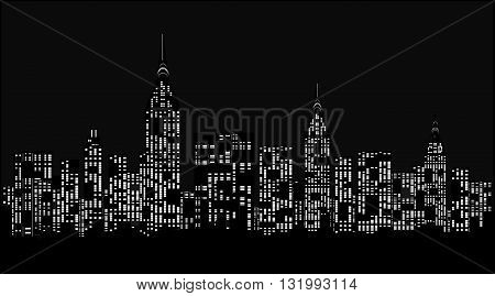 City at night, silhouette - vector illustration.
