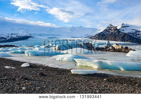 The glacial lagoon Jokulsarlon with glacier view, Iceland