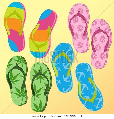 Flip-flops. Summer vacations vector mock up.