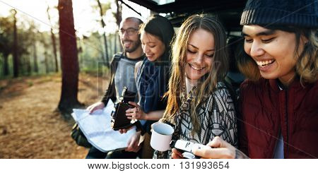 Friendship Camping Coffee Youth Holiday Concept