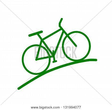 Green bike silhouette - modern vector illustration.