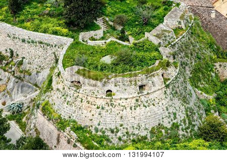 Aerial view. The loopholes of Palamidi Fortress, Nafplio, Greece.