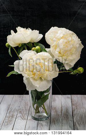 A bouquet of white peonies in a vase.
