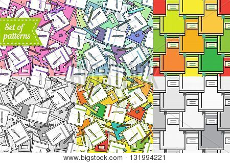 Bright rainbow color books pattern, notebooks, pens, vector seamless pattern about learning, education and office work. Back to school patterns pack. Black and white and colorful