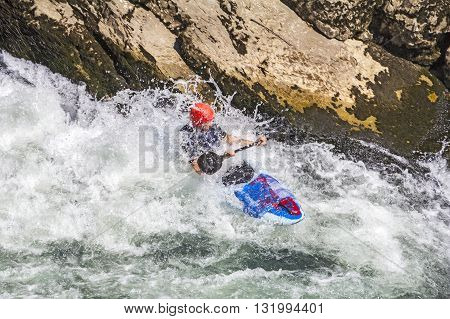 Kayaking in white water blurred motion, Rastoke, Croatia