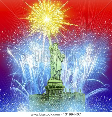 Beautiful colorful holiday fireworks over The Statue of Liberty. Happy 4th of July concept.