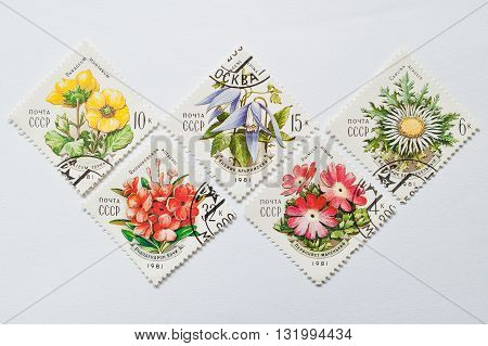 Uzhgorod, Ukraine - Circa May, 2016: Collection Of Rhomb Stamps Printed In Ussr, Shows The Series Of