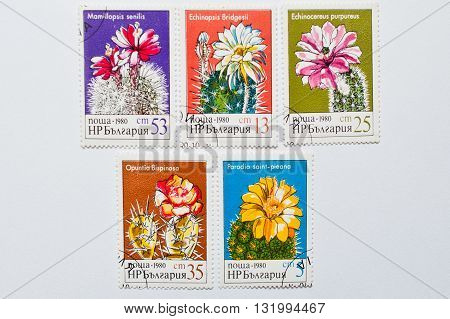 Uzhgorod, Ukraine - Circa May, 2016: Collection Of Postage Stamps Printed In Bulgaria, Shows Differe