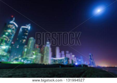 Abstract Blurred Bokeh Lights At Night: City Panoramic View