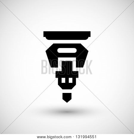 Drilling machine part icon isolated on grey. Vector illustration