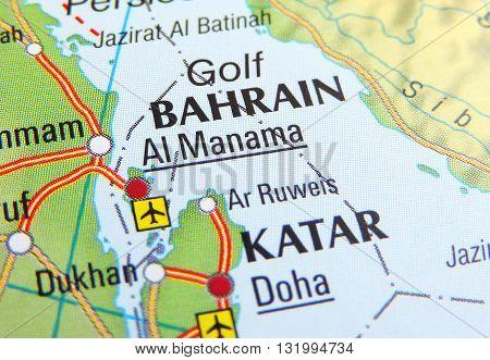 Map of Bahrain, close up. Focus on Katar and Bahrain