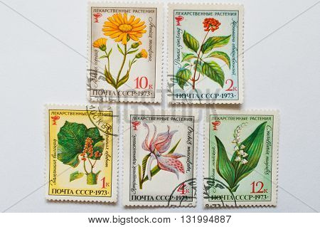 Uzhgorod, Ukraine - Circa May, 2016: Collection Of Postage Stamps Printed In Ussr, Shows Different H