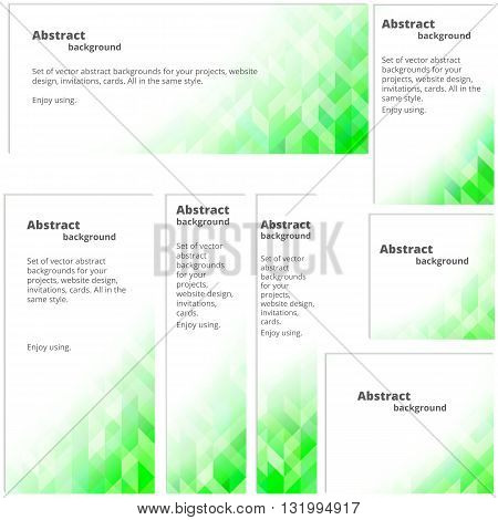 Abstract background in shades of green. Set of banners with a background in shades of green. Suitable for web site.
