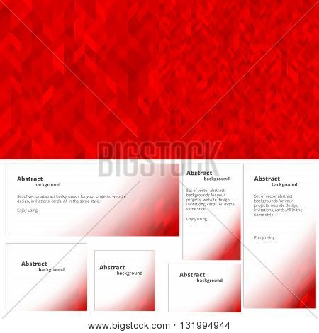 Red abstract background. A set of banners in red colors.