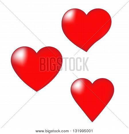 Set of red hearts for decoration. Vector illustration