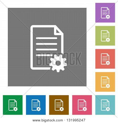 Document setup flat icon set on color square background.