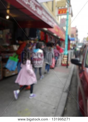 Blurred City And People Urban Scene
