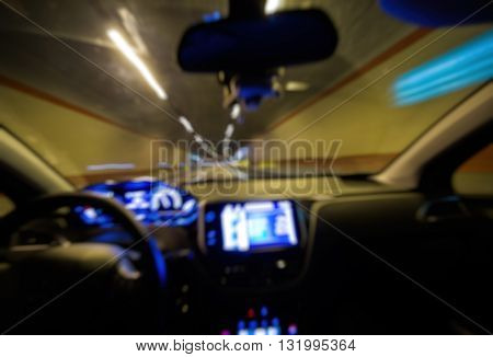Abstract Blur Driving On Tunnnel, View Of Driver In Car