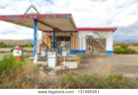Abstract Blurry background abandoned gas station for refueling