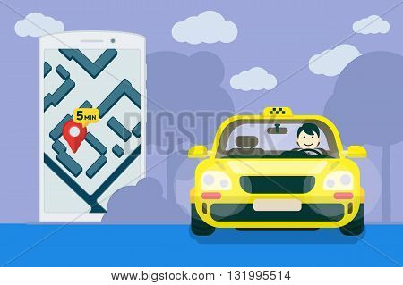Taxi service. Flat yellow taxi with a driver traveling on the road. car front view. Flat mobile phone with a label on the map. Application for taxi online. Vector clipart graphics