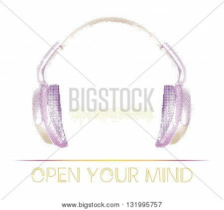 Headphones icon or logo for your design with abstract sound wave beats. Realistic art design of object with loop, varying the width and contour shape. Designed in artistic outline style.