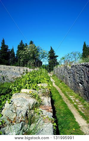The passage on the upper level of the fortress Spanjola (Herceg Novi, Montenegro)
