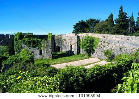 View of the buildings inside the fortress Spanjola (Herceg Novi, Montenegro)