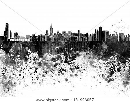 Chicago skyline in artistic anstract black watercolor