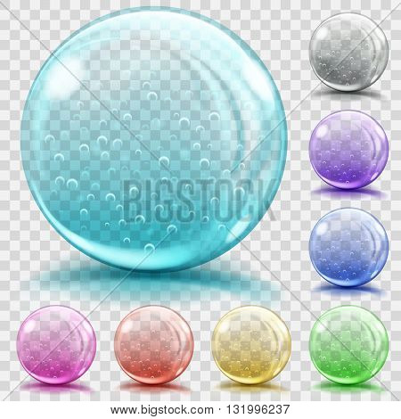 Multicolored Transparent Glass Spheres With Air Bubbles
