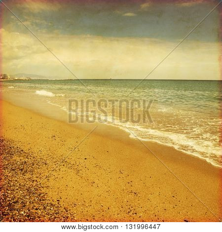 Image of seascape in grunge and retro style.