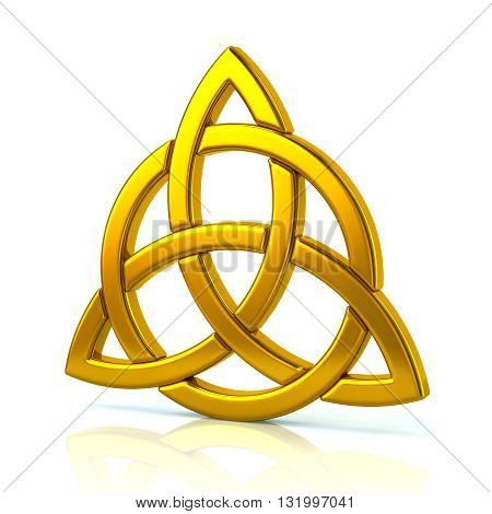 3d illustration of golden celtic trinity knot isolated on white background
